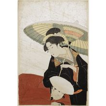 Eishosai Choki: Woman and Servant in Snow. 2nd edition. - Museum of Fine Arts