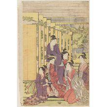 長喜: Ladies Watching a Manzai Performance at a Mansion - ボストン美術館