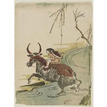 Utagawa Toyohiro: Boy Riding a Water Buffalo across a Stream - Museum of Fine Arts