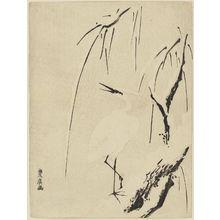 歌川豊広: White Heron and Snowy Willow Tree - ボストン美術館