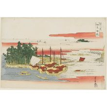 Utagawa Toyohiro: Returning Sails at Tsukudajima (Tsukudajima kihan), from the series Eight Views of Edo (Edo hakkei) - Museum of Fine Arts