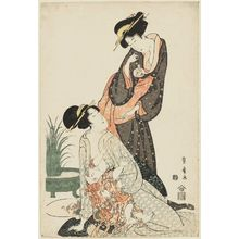 Utagawa Toyohiro: Two Women with Goldfish and Nursing Baby - Museum of Fine Arts