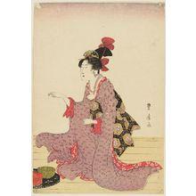 Utagawa Toyohiro: Woman kneeling on floor in front of bowls - Museum of Fine Arts