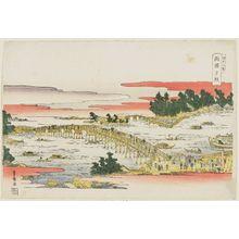 歌川豊広: Sunset Glow at Ryôgoku Bridge (Ryôgoku sekishô), from the series Eight Views of Edo (Edo hakkei) - ボストン美術館