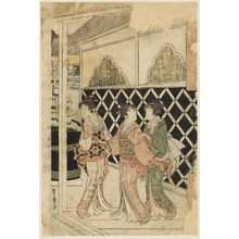 Utagawa Toyohiro: Three woman outside gates - Museum of Fine Arts