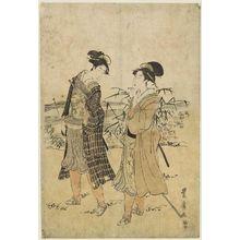 Utagawa Toyohiro: Women Dressed as Falconer and Attendant - Museum of Fine Arts