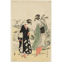 Utagawa Toyohiro: Two women- one holding falcon, the other a small bird. - Museum of Fine Arts