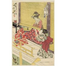 Utagawa Toyohiro: The Seventh Month, a Triptych (Shichigatsu, sanmaitsuzuki), from the series Twelve Months by Two Artists, Toyokuni and Toyohiro (Toyokuni Toyohiro ryôga jûnikô) - Museum of Fine Arts