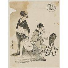 Utagawa Toyohiro: Women Washing and Applying Makeup - Museum of Fine Arts