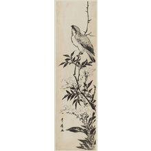 歌川豊広: Bird on a branch of a flowering plant - ボストン美術館
