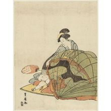歌川豊広: Mother lifts netting above sleeping child - ボストン美術館