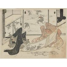 Utagawa Toyohiro: Young Couple Looking at Painting - Museum of Fine Arts
