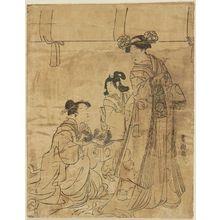 Utagawa Toyokuni I: Woman, attendant and child - Museum of Fine Arts
