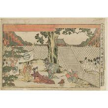 Utagawa Toyokuni I: Act I (Daijodan no zu), from the series Perspective Pictures of the Storehouse of Loyal Retainers (Uki-e Chûshingura) - Museum of Fine Arts