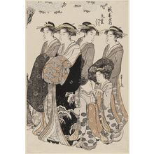 細田栄之: Courtesans Viewing Cherry Blossoms: Kokonoe of the Echizenya, kamuro Akeba and Koisa - ボストン美術館