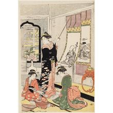 細田栄之: Women Viewing Scroll Paintings of the Gods of Good Fortune - ボストン美術館