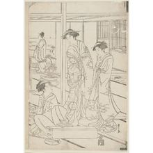 Hosoda Eishi: Party in a Room at Shinagawa Overlooking the Bay - Museum of Fine Arts