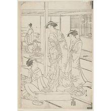 細田栄之: Party in a Room at Shinagawa Overlooking the Bay - ボストン美術館