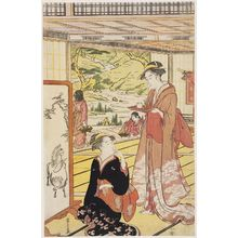 Hosoda Eishi: Women in a Mansion with a Garden - Museum of Fine Arts
