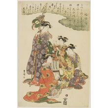 Utagawa Toyokuni I: Fukurokuju and Bishamonten, from a triptych of Women as the Seven Gods of Good Fortune - Museum of Fine Arts
