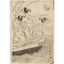 Utagawa Toyokuni I: Women in a Boat, Imitating Three Lucky Gods (Sanpukujin) - Museum of Fine Arts