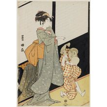 Utagawa Toyokuni I: Child Playing with his Reflection as a Woman Watches - Museum of Fine Arts