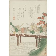 Utagawa Toyokuni I: Blind men on a bridge - Museum of Fine Arts