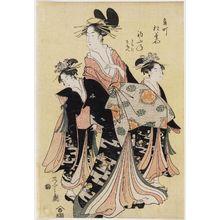 細田栄之: Hatsufune of the Matsubaya in Kado-chô, kamuro Kichiji and Sanae - ボストン美術館