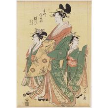 Hosoda Eishi: Yosooi of the Matsubaya, kamuro Tomeki and Nioi - Museum of Fine Arts