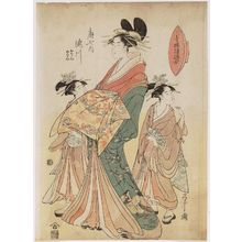 Hosoda Eishi: Takigawa of the Ôgiya, kamuro Onami and Menami, from the series Contest of Designs in the Pleasure Quarters (Seirô moyô awase) - Museum of Fine Arts
