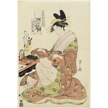 細田栄之: Hanaôgi of the Ôgiya, from the series Beauties of the Yoshiwara as Six Floral Immortals (Seirô bijin Rokkasen) - ボストン美術館