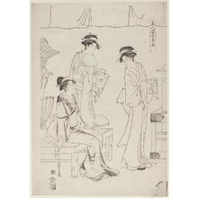 細田栄之: The Kikumoto Teahouse, from the series Comparisons of Beauties (Bijin sugata awase) - ボストン美術館