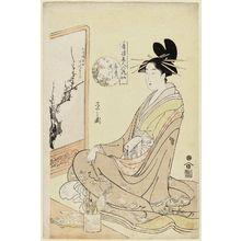 細田栄之: Takigawa of the Ôgiya, from the series Beauties of the Yoshiwara as Six Floral Immortals (Seirô bijin Rokkasen) - ボストン美術館
