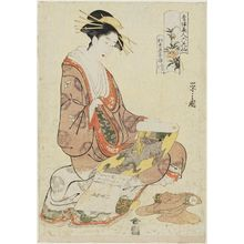 Hosoda Eishi: Kisegawa of the Matsubaya, from the series Beauties of the Yoshiwara as Six Floral Immortals (Seirô bijin Rokkasen) - Museum of Fine Arts