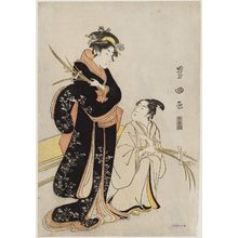 Utagawa Toyokuni I: Woman and Man with Irises - Museum of Fine Arts