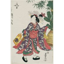 Utagawa Toyokuni I: Actor Segawa Rokô as a Kamuro playing with a Hagoita - Museum of Fine Arts