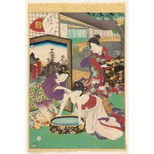 二代歌川国貞: No. 8 [sic; actually 9], Aoi, from the series Lady Murasaki's Genji Cards (Murasaki Shikibu Genji karuta) - ボストン美術館
