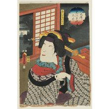 Utagawa Kunisada II: Actor Onoe Kikujirô II as Fusahachi's Wife Nui, from the series The Book of the Eight Dog Heroes (Hakkenden inu no sôshi no uchi) - Museum of Fine Arts