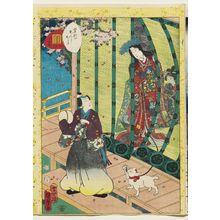 二代歌川国貞: No. 36, Kashiwagi, from the series Lady Murasaki's Genji Cards (Murasaki Shikibu Genji karuta) - ボストン美術館