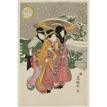 Utagawa Toyokuni I: The Twelfth Month: Snow Falling at Mukôjima, from the series Actors in the Twelve Months (Yakusha jûni tsuki) - Museum of Fine Arts
