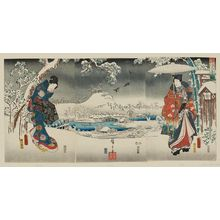 歌川広重: Snow View (Yuki no nagame), from the series Fashionable Genji (Fûryû Genji) - ボストン美術館