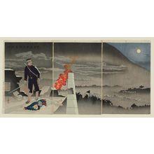 小林清親: Defying a Shower of Bullets, He, Alone, Opened Hyonmu Gate (Dan'u o okashite tanshin Genbumon o hiraku) - ボストン美術館