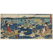 Utagawa Yoshikazu: The Ôi River on the Tôkaidô Road (Tôkaidô Ôigawa no zu) - Museum of Fine Arts