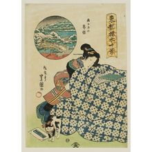 Utagawa Toyoshige: Twilight Snow at Shin Dote (Shin Dote no bosetsu), from the series Ten Views of Cherry Trees in the Eastern Capital (Tôto sakuragi jikkei) - Museum of Fine Arts