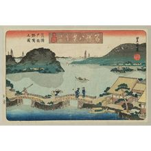 歌川豊重: Kanazawa Kihan. Ukabe Seto-bashi Nojima no zu. Meisho Hakkei, 2nd edition (Famous Sights, Eight Views) - ボストン美術館