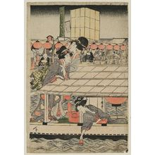 Kitagawa Utamaro: Enjoying the Evening Cool at Ryôgoku Bridge: Women Acrobats from Osaka (Ôsaka kudari onna karuwaza) - Museum of Fine Arts