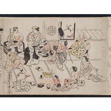 Okumura Masanobu: Townspeople at a Party for the Ebisu Festival in the Tenth Month (Chônin zu, Jûgatsu Ebisu-kô enkai no tei), from an untitled series of Customs of the Twelve Months - Museum of Fine Arts