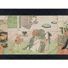 鈴木春信: Couple with Lion Dance Mask and Child with Drum - ボストン美術館