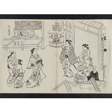 奥村政信: Nakanochô in the Yoshiwara (Yoshiwara Nakanochô), from an untitled series of a visit to the Yoshiwara (known as Series L) - ボストン美術館