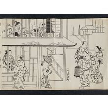 奥村政信: Edo-machi in the Yoshiwara (Yoshiwara Edo-machi), from an untitled series of a visit to the Yoshiwara (known as Series L) - ボストン美術館